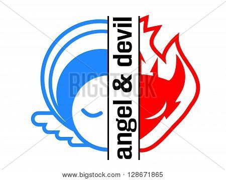Angel and devil logo icon and avatar outlined