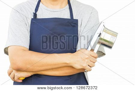 Potato Ricer In Chef's Hand On White Background.