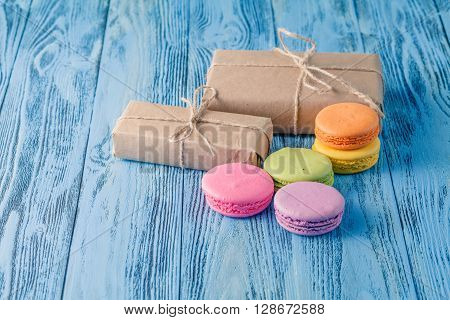 Set Of Various Pastel Colored Macaroon And Gift Boxes With Ribbon