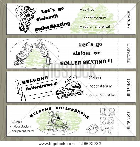Vector illustration of set hand drawn tickets on Rollerdrom with Roller Skate and equipments on white background.