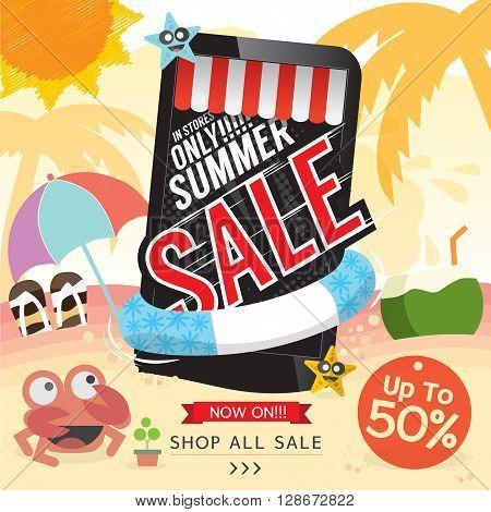Summer Sale Banner Vector Illustration. EPS 10
