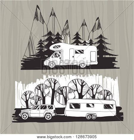Vector illustration of motor homes, vans, caravans, mobile homes, trailer with forest and mountain. Vintage badges, icons on wood background