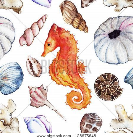 Watercolor sea ocean seahorse seashell coral ammonit urchin seamless pattern