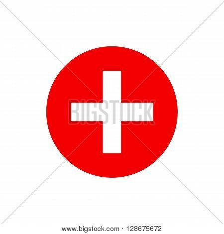 Vector red cross icon. Red cross aid. Red cross day design concept. Red cross flag red cross ambulance red cross help red cross logo. Vector red cross icon symbol shape illustration.