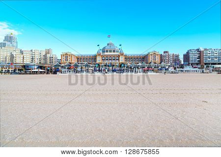 Scheveningen, Netherlands - April 7, 2016: Famous Grand Hotel Amrath Kurhaus View and Scheveningen beach near Hague, Holland, Netherlands