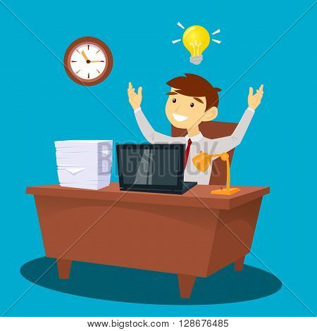 Businessman at Work had an Idea. White Collar in Office Vector illustration