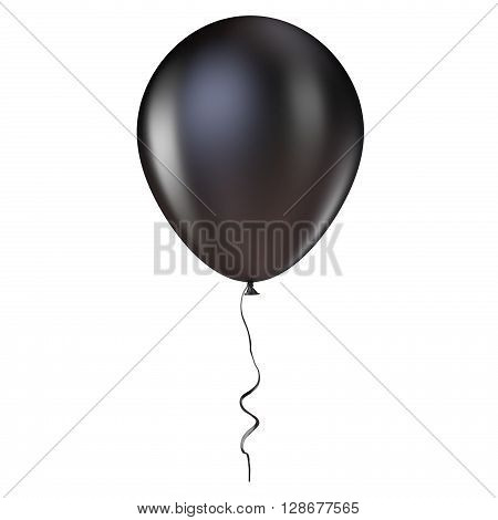 Black helium balloon with ribbon. 3D render illustration isolated on white background