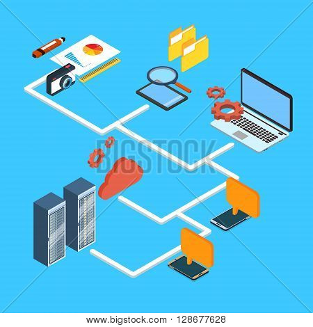 Computer Device Laptop, Cell Smart Phone Database Cloud Storage 3d Isometric Design Vector Illustration