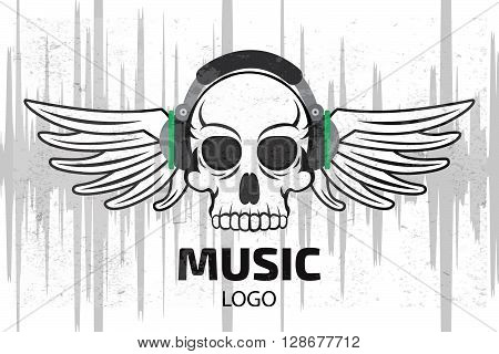 Music Skull Logo With Wings