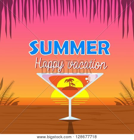 Martini Glass Cocktail Palm Tree Inside Over Tropical Sunset Background Seaside Vacation Flat Vector Illustration