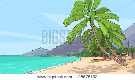 Sea Shore Sand Beach Summer Vacation Tropical Seascape Palm Tree Vector Illustration