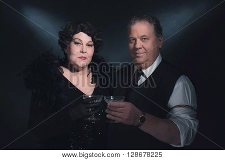 Vintage 1940S Couple Holding Glass Of Champagne. Classic Portrait.