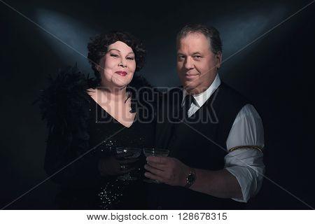 Retro 1940S Couple Holding Glass Of Champagne. Classic Portrait.