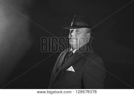 Vintage 1940S Gangster Wearing Hat. Classic Black And White Portrait.