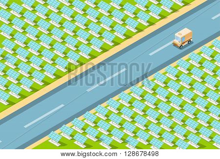 Truck Lorry On Road, Field With Solar Energy Panel Recycle Technology Battery Station Top View Vector Illustration