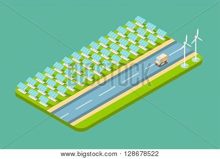 Truck Lorry On Road, Field With Solar Energy Panel Wind Turbine Tower  Recycle Technology Battery Station Top View Vector Illustration
