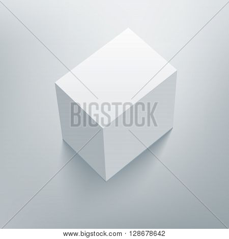 Blank isolated box mockup with shadow. Packaging 3d design template. Vector illustration scene 4.