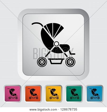 Pram icon. Flat vector related icon for web and mobile applications. It can be used as - logo, pictogram, icon, infographic element. Vector Illustration.