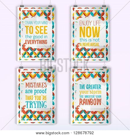 Set of quote inspiration posters. Wall art prints, mock up, home interior poster card, typographic composition, vector illustration