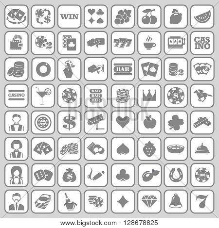 The set of flat monochrome casino icons for slot machine.