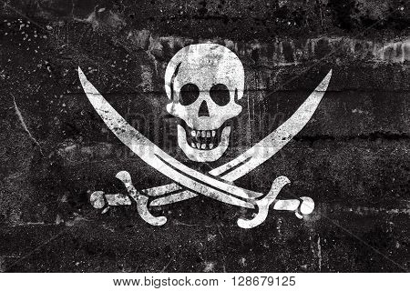 Calico Jack Pirate Flag, Painted On Dirty Wall. Vintage And Old Look.