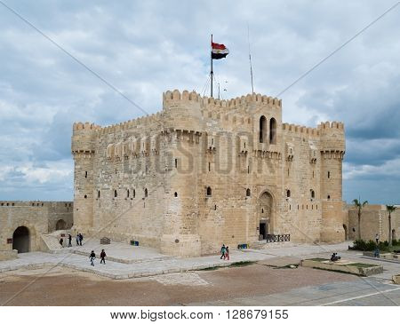 Alexandria, Egypt - December 3, 2015: Qaitbay Castle. A 15th-century defensive fortress located on the Mediterranean sea coast established in 1477 AD (882 AH)