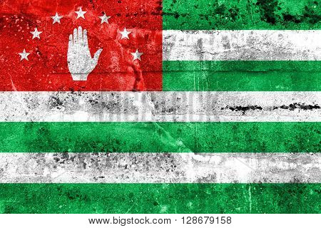 Flag Of Abkhazia, Painted On Dirty Wall. Vintage And Old Look.