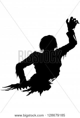 Illustration half part of the rotten zombie's body. He stretches his hand forward