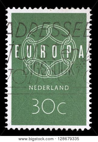 ZAGREB, CROATIA - JUNE 24: A stamp printed in Netherlands, shows a chain composition, with the inscription