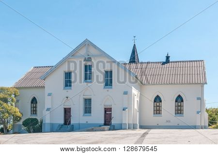 KNYSNA SOUTH AFRICA - MARCH 3 2016: The back of the Dutch Reformed Church in Knysna. The church was built in 1900