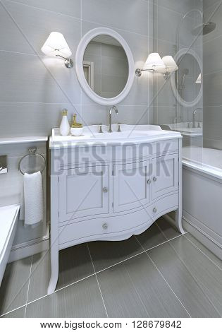 White art deco styled sink console in bathroom. Round mirror with sconces on both sides. 3D render