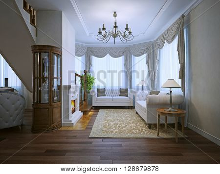 Bright interior of expensive living with fireplace. White upholstery sofas beige pattrern carpet. 3D render