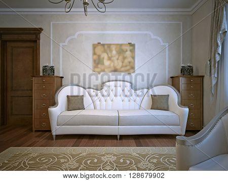 Living room with oak furniture. Beige wallpapers. 3D render