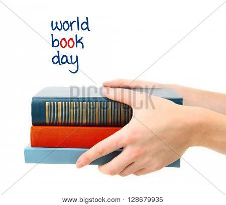 Books in hands and World Book Day text isolated on white