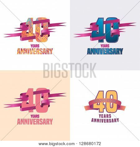 40 years anniversary vector icon set. 40th celebration design collection