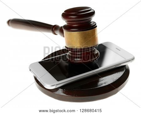 Gavel and smartphone isolated on white
