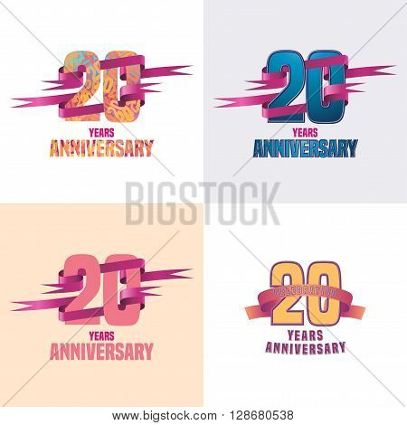 20 years anniversary vector icon set. 20th celebration design collection
