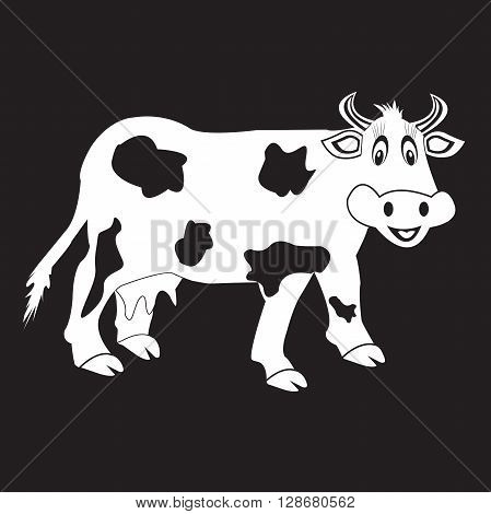stencil funny cow on a black background