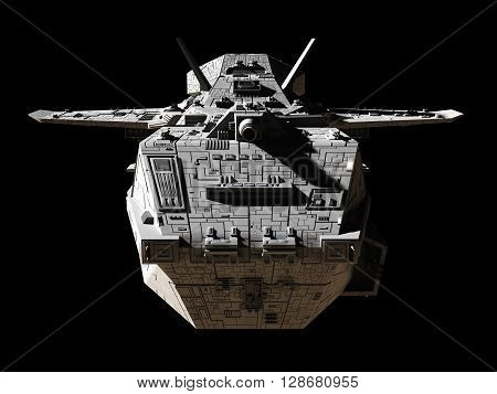 Science fiction illustration of an interplanetary gunship, isolated on black, front view, 3d digitally rendered illustration (3d rendering, 3d illustration)