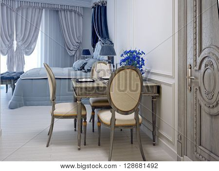 Avant garde studio apartment. Dining table and beddroom on background. White walls. 3D render