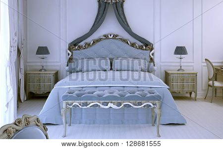Front view on luxury double bed in avant garde style. 3D render