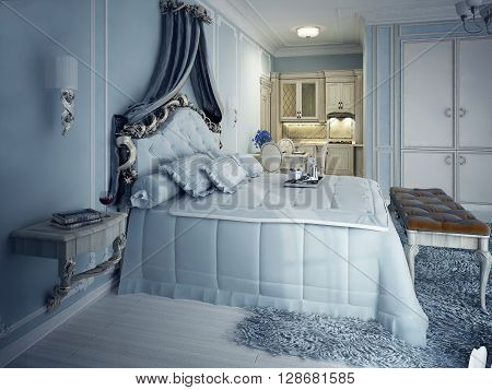 Royal studio apartments. Exclusive furniture. Fluffy bed with upholstery bedhead. 3D render