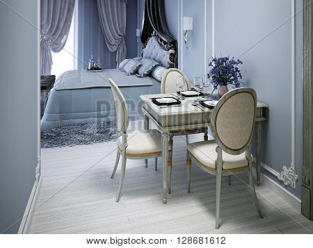 Expensive studio apartments in neoclassic style. 3D render
