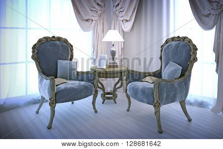 Elegant chairs in antique style. Room with large windows cotton cream curtains and white laminate flooring. 3D render