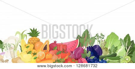 Colorful rainbow of fruit and vegetables on white background healthy eating and nutrition concept