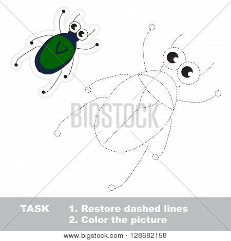 Small beetle in vector to be traced. Restore dashed line and color the picture. Trace game for children.