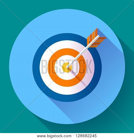 Target marketing icon. Target with arrow symbol. Modern flat design concept for web banners, web sites, printed materials, infographics. Flat vector design style