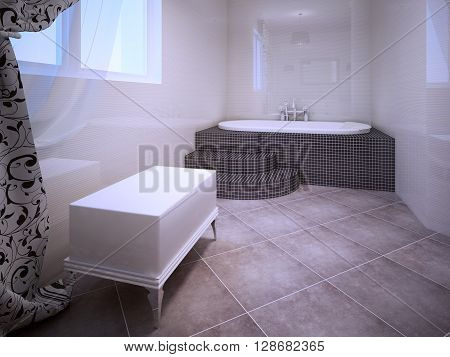 Jacuzzi room. Interior in avant garde style. White brick bench near window and elegant jacuzzi made of tiny dark granite tile. 3D render