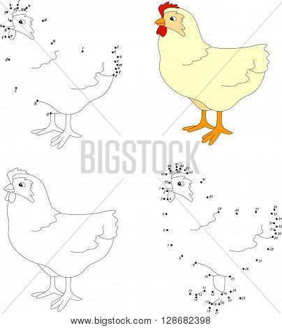 Cartoon Hen. Coloring Book And Dot To Dot Game For Kids