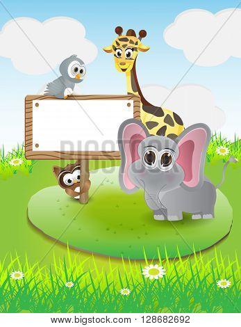 Animals cartoon with blank text box and nature background